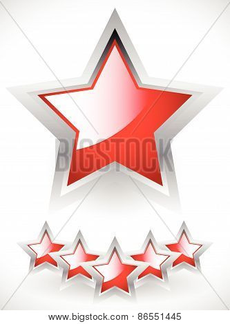 Glossy Red Stars With Gray Frame