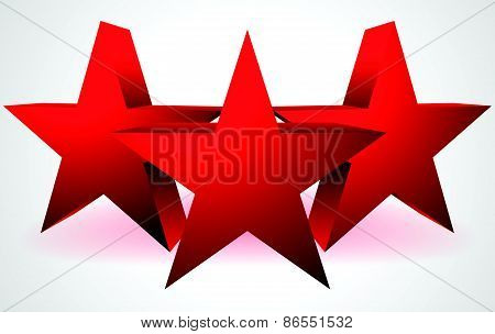 Composition Made Of 3 Red 3D Stars