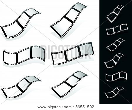 Set Of 3D Filmstrips With Gray Fillings With Different Distortions. Silhouette Versions Included.