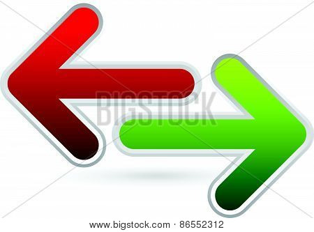Red, Green Left And Right Arrows. Opposite Directions, Divergence, Forward, Backward.