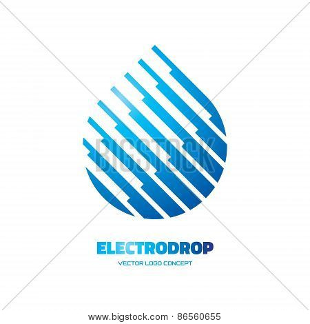 Electrodrop - vector logo concept illustration. Abstract water drop logo. Vector logo template.