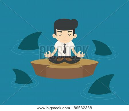 Businessman In A Risky Situation