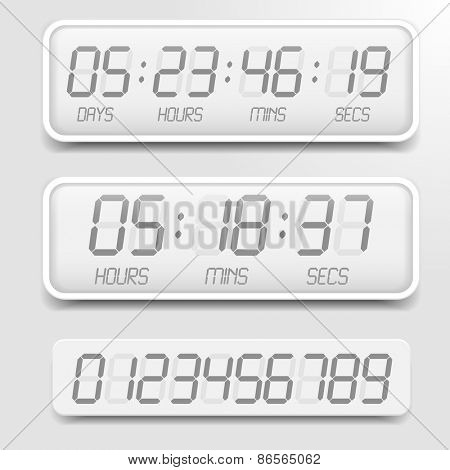 detailed illustration of a bright themed digital countdown timer with LCD-Digits, eps10 vector