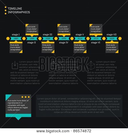 Timeline template infographics. Horizontal progress. Flat style simple and clean. Dark background. poster