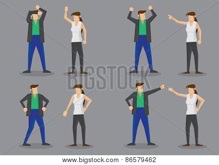 Arguing Couple Vector Character Illustration
