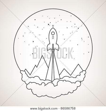 Space Rocket Flies Into Space