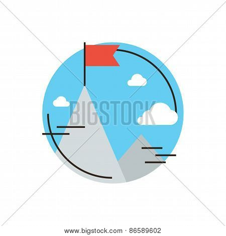 Thin line icon with flat design element of success business goal flag at mountain peak top challenge achievement successful leadership of mission. Modern style logo vector illustration concept. poster