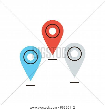 Global Navigation Flat Line Icon Concept