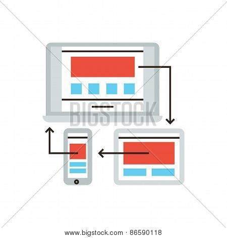 Responsive Design Flat Line Icon Concept