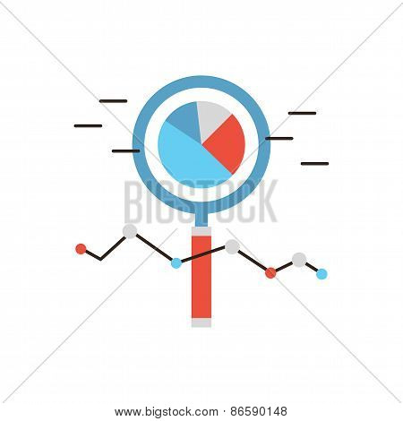 Thin line icon with flat design element of market analysis business infographics statistics data magnifying lens financial analytics. Modern style logo vector illustration concept. poster
