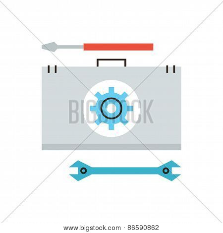 Technical Toolbox Flat Line Icon Concept
