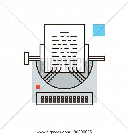Typewriter Flat Line Icon Concept