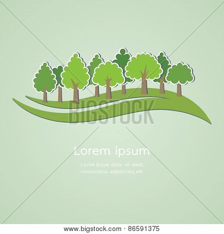 Abstract Tree On Green Background