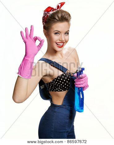 Sexy Cleaning Girl Wearing Pink Rubber Protective Gloves Holding Spray Showing Us It's Okay