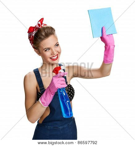 Beautiful Staff Wearing Pink Rubber Protective Gloves Holding Cleaning Spray Bottle And Cellulose