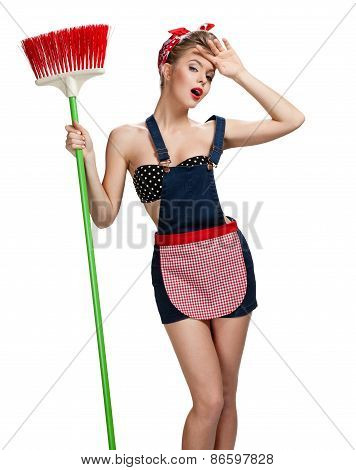 Beautiful Maid Standing Tired After Spring Cleaning With Broom / Young Beautiful American Pin-up Gir