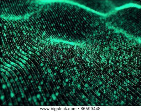 Waves of digital information concept - binare code background