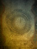 steampunk grunge papel with metal gold walls poster