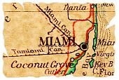 Miami Florida on an old torn map from 1949 isolated. Part of the old map series. poster
