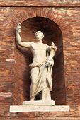 Roman emperor statue with cornucopia located in Quirinale Square, Rome (Italy) poster