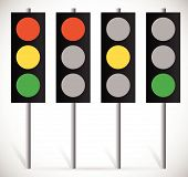Eps 10 Vector Illustration of Traffic Lights Lamps or Traffic Signals set. Red Yellow Green light for Stop Wait and Go Concepts. Vector Illustration poster