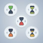 Hourglass timer icons with color gradation and numbers in flat style on a light background. Vector illustration in EPS10. poster