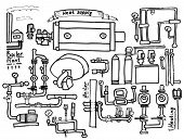 Boiler room equipment engineering systems. Sketch. Vector file. Gas heat cold and hot water. Utilities. Boiler room operator locksmith. poster