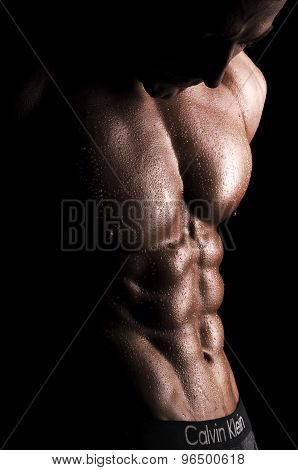 handsome muscular young bodybuilder showing his muscles and abs