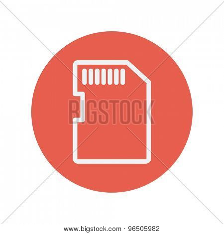 SIM card thin line icon for web and mobile minimalistic flat design. Vector white icon inside the red circle.