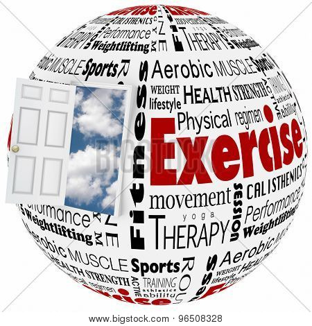 Exercise physical fitness world of active lifestyle opportunity to illustrate healthy therapy through sports, athletics, and other activities at the gym