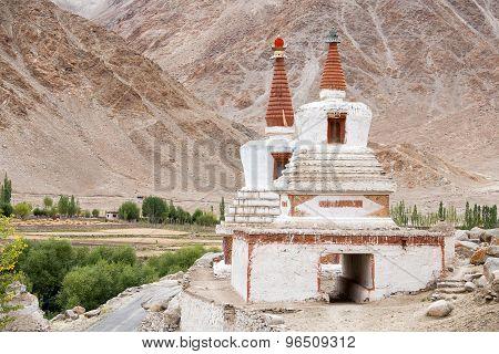 Tall Shanti Stupa In Chemdey Gompa, Buddhist Monastery, Ladakh, Jammu & Kashmir, India