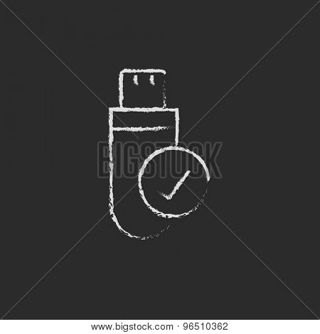 USB flash drive hand drawn in chalk on a blackboard vector white icon on a black background