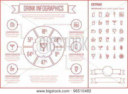 Drink infographic template and elements. The template includes the following set of icons - hot choco, mug of beer, orange joice, cold water, tea and more. Modern minimalistic flat thin line vector