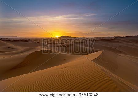 view of Erg Chebbi Dunes -  Sahara Desert - at sunset, in Morocco