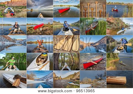 picture collection from canoe paddling  and trips on lakes and rivers in Colorado, Wyoming and Utah featuring the same male paddler