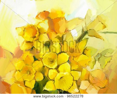 Still Life Of Yellow And Orange Color Flowers