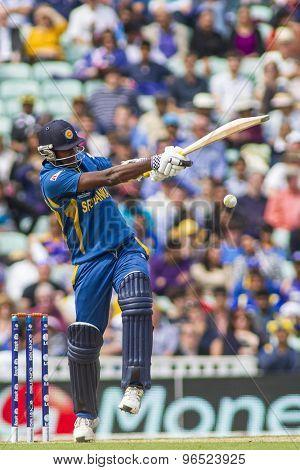 LONDON, ENGLAND - June 17 2013: Sri Lanka's Angelo Mathews (c) batting during the ICC Champions Trophy international cricket match between Sri Lanka and Australia.