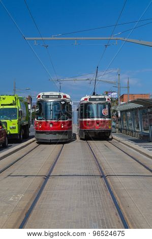 Streetcars Along St Clair West In Toronto