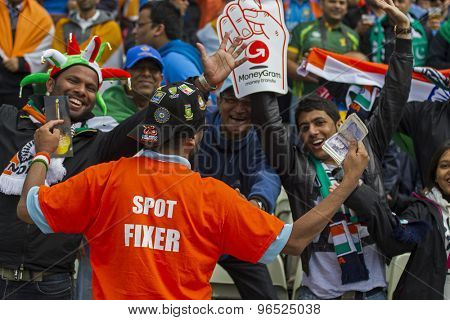 EDGBASTON, ENGLAND - June 15 2013: An Indian fan with a