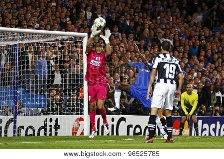 LONDON, ENGLAND. September 19 2012 Juventus's goalkeeper Gianluigi Buffon catches the ball during the UEFA Champions League football match between Chelsea and Juventus played at Stamford Bridge