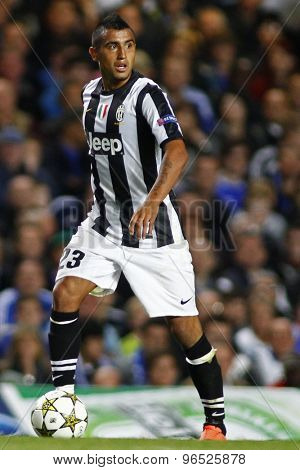LONDON, ENGLAND. September 19 2012 Juventus's Chilian midfielder Arturo Vidal   during the UEFA Champions League football match between Chelsea and Juventus played at Stamford Bridge