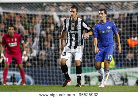 LONDON, ENGLAND. September 19 2012 Juventus's Italian defender Leonardo Bonucci and Chelsea's midfielder Eden Hazard during the UEFA Champions League football match between Chelsea and Juventus