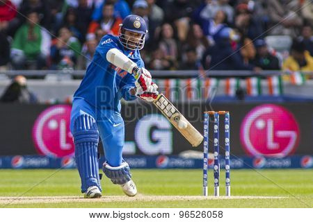 EDGBASTON, ENGLAND - June 15 2013: India's Shikhar Dhawan batting during the ICC Champions Trophy cricket match between India and Pakistan at Edgbaston Cricket Ground.