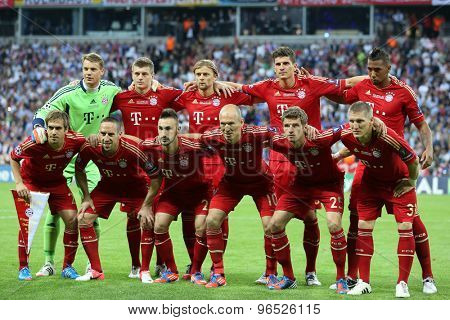 MUNICH, GERMANY May 19 2012. The Bayern team at the 2012 UEFA Champions League Final at the Allianz Arena Munich contested by Chelsea and Bayern Munich