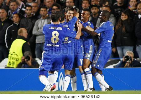 LONDON, ENGLAND. September 19 2012 Chelsea celebrate a goal  during the UEFA Champions League football match between Chelsea and Juventus played at Stamford Bridge