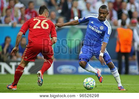 MUNICH, GERMANY May 19 2012. Bayern's German defender Diego Contento and Chelsea's Ivory Coast forward Salomon Kalou in action during the 2012 UEFA Champions League Final at the Allianz Arena Munich