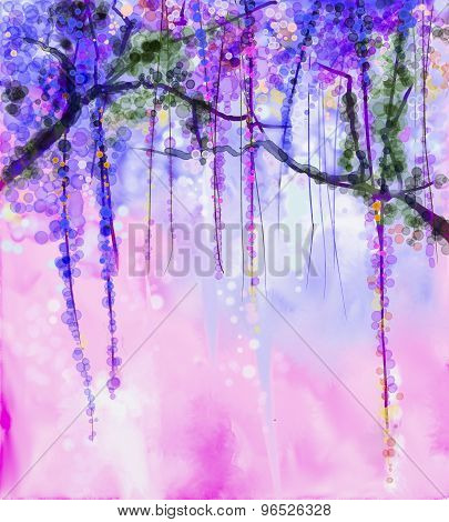 Spring Purple Flowers Wisteria Watercolor Painting
