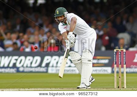 LONDON, ENGLAND. AUGUST 16 2012 South Africa's Alviro Petersen batting during the third Investec cricket  test match between England and South Africa, at Lords Cricket Ground
