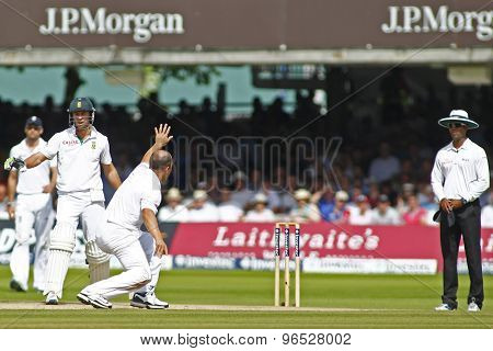 LONDON, ENGLAND. AUGUST 19 2012 England's Jonathan Trott appeals to the umpire for a wicket during the third Investec cricket  test match between England and South Africa, at Lords Cricket Ground
