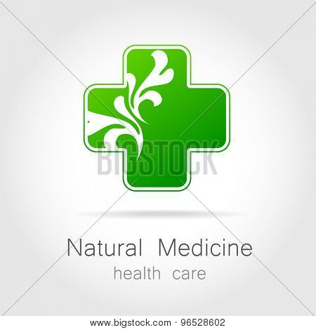 Natural medicine - a sign of eco bio treatment. Template for logotype alternative medicine, eco medicines, bio supplements, homeopathy, etc. poster